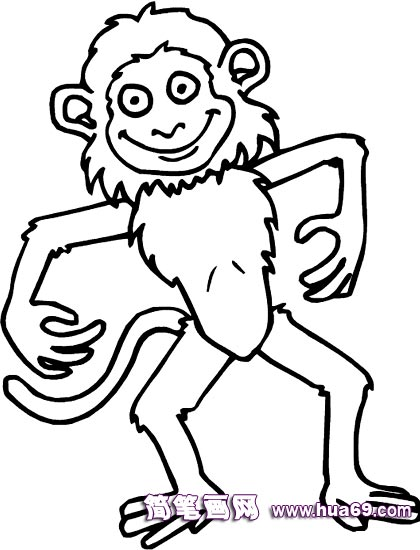 卡通猴子简笔画