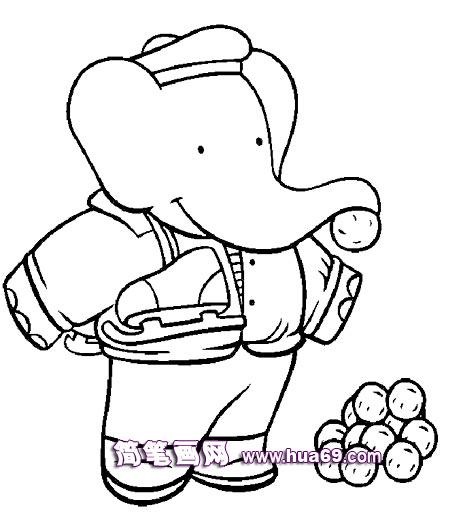 大象坐热气球的简笔画