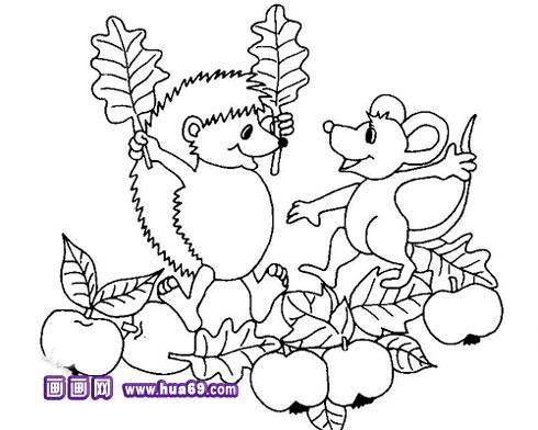 可爱小刺猬简笔画2