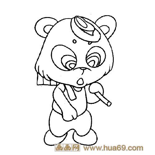 干活的小熊猫│动物简笔画