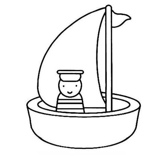 卡通小帆船的简笔画