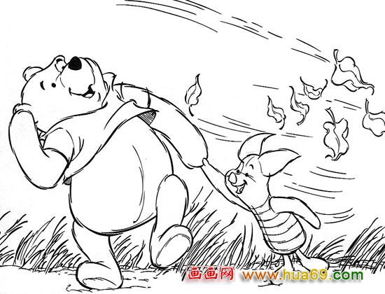 卡通简笔画:快乐的维尼2,画画网