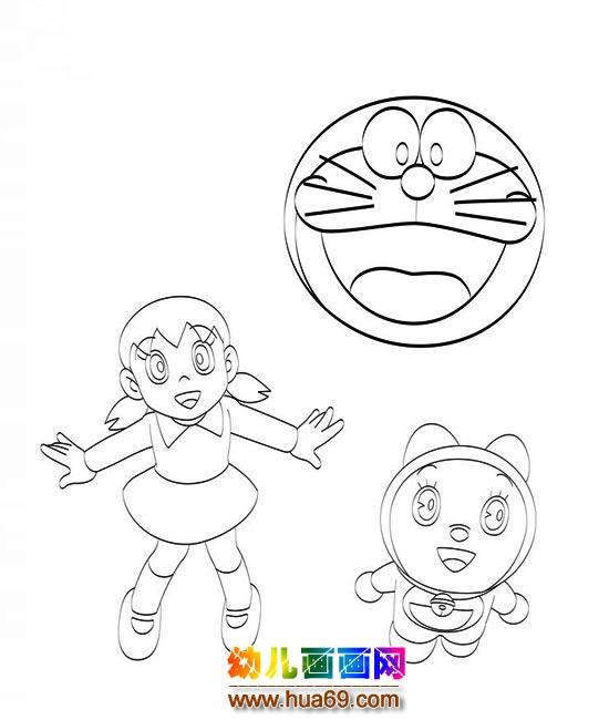机器猫和静香 儿童简笔画