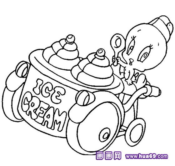 小鸭子卖冰淇淋简笔画