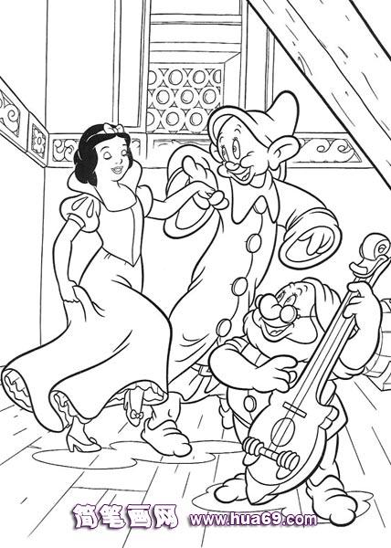 白雪公主和小矮人跳舞简笔画