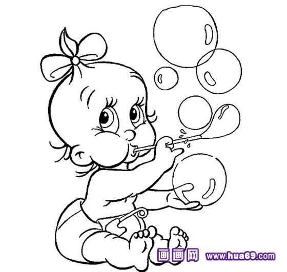 小孩吹泡泡的简笔画