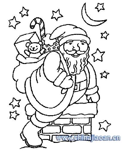 有神奇礼物的圣诞老人简笔画