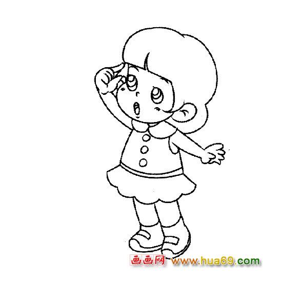 可爱小女孩-人物简笔画,画画网