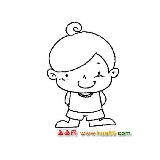 人物简笔画:可爱的小男孩