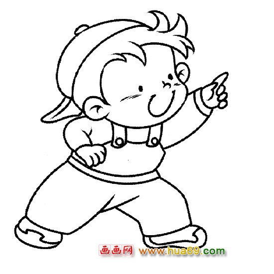 人物简笔画:玩耍的小男孩