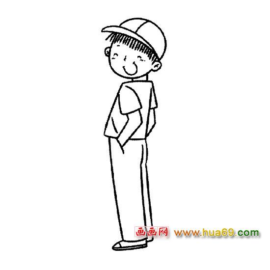 人物简笔画:微笑的男孩