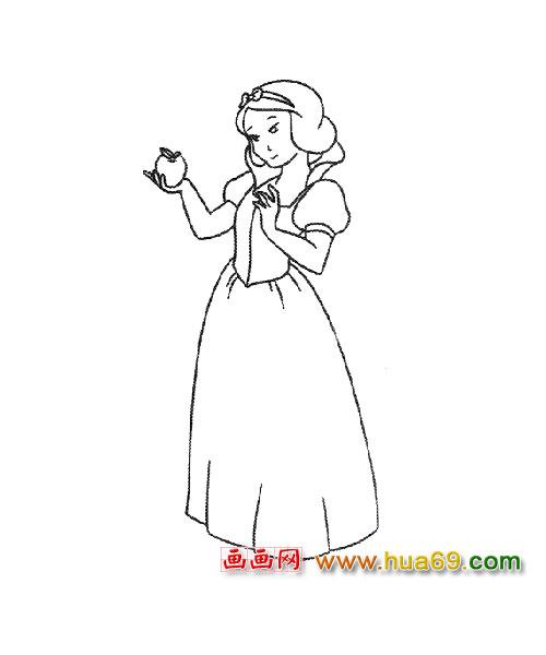 人物简笔画:白雪公主1