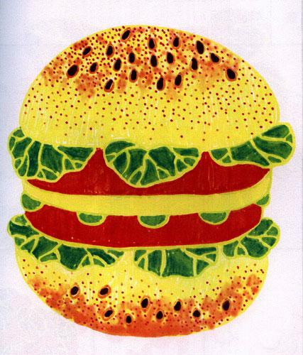 好吃的汉堡,幼儿彩笔画作品