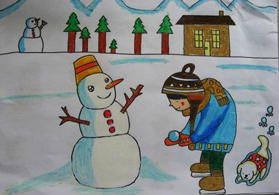 儿童彩笔画 堆大雪人
