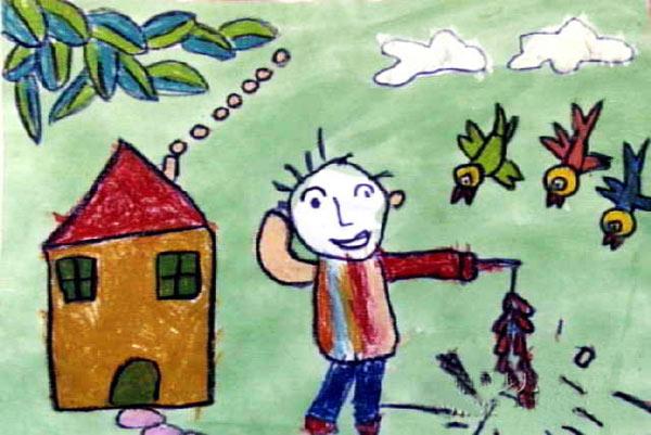 儿童彩笔画 过新年放鞭炮