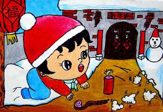 儿童彩笔画:新年放鞭炮1,画画网