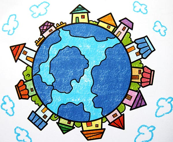 儿童彩笔画作品 保护地球3
