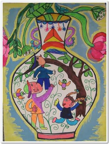 兒童彩筆畫圖片