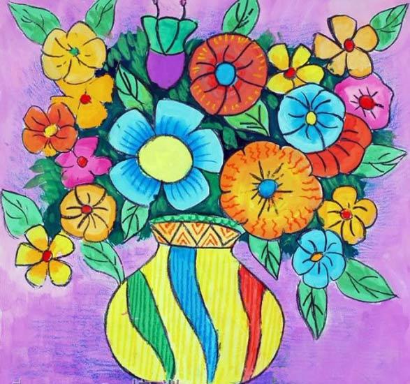 儿童画彩笔画作品:彩色的花