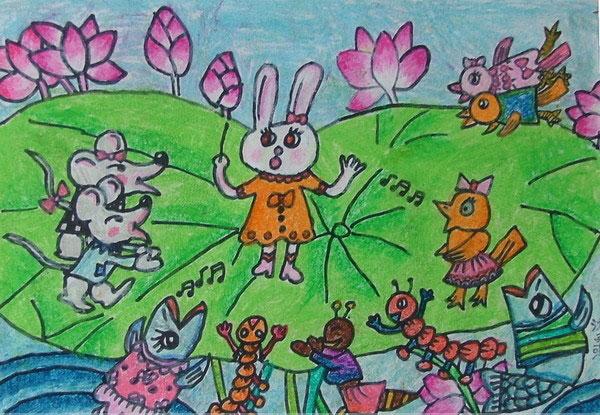 动物乐园_儿童彩笔画图片