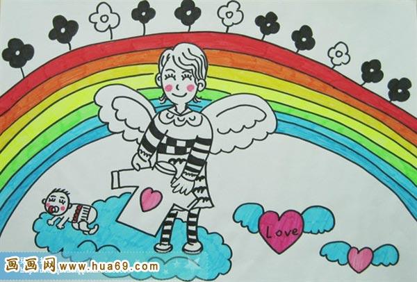 儿童彩笔画作品:彩虹娃娃