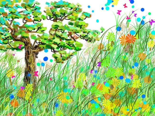 儿童蜡笔画:百草园的花和草