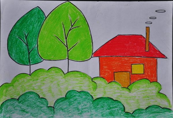 儿童彩笔画作品:我的家