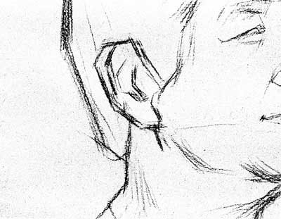 头像素描老人(女)侧面平光集