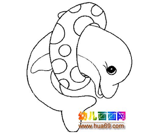 海豚戴游泳圈的简笔画